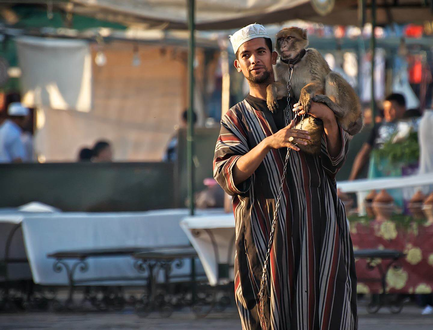 Moroccan man in djellaba with a monkey