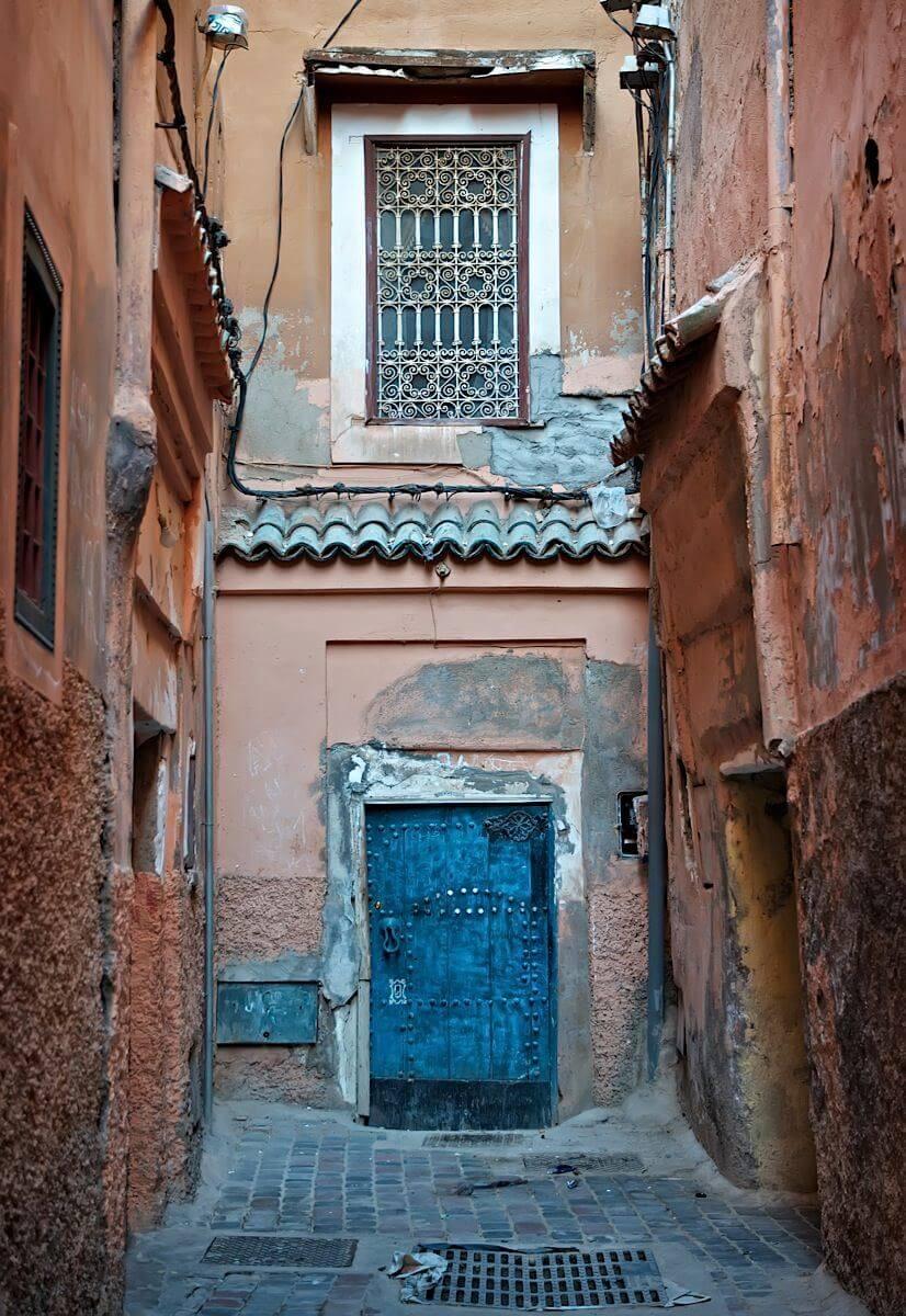 Old blue door in Medina; Marrakech