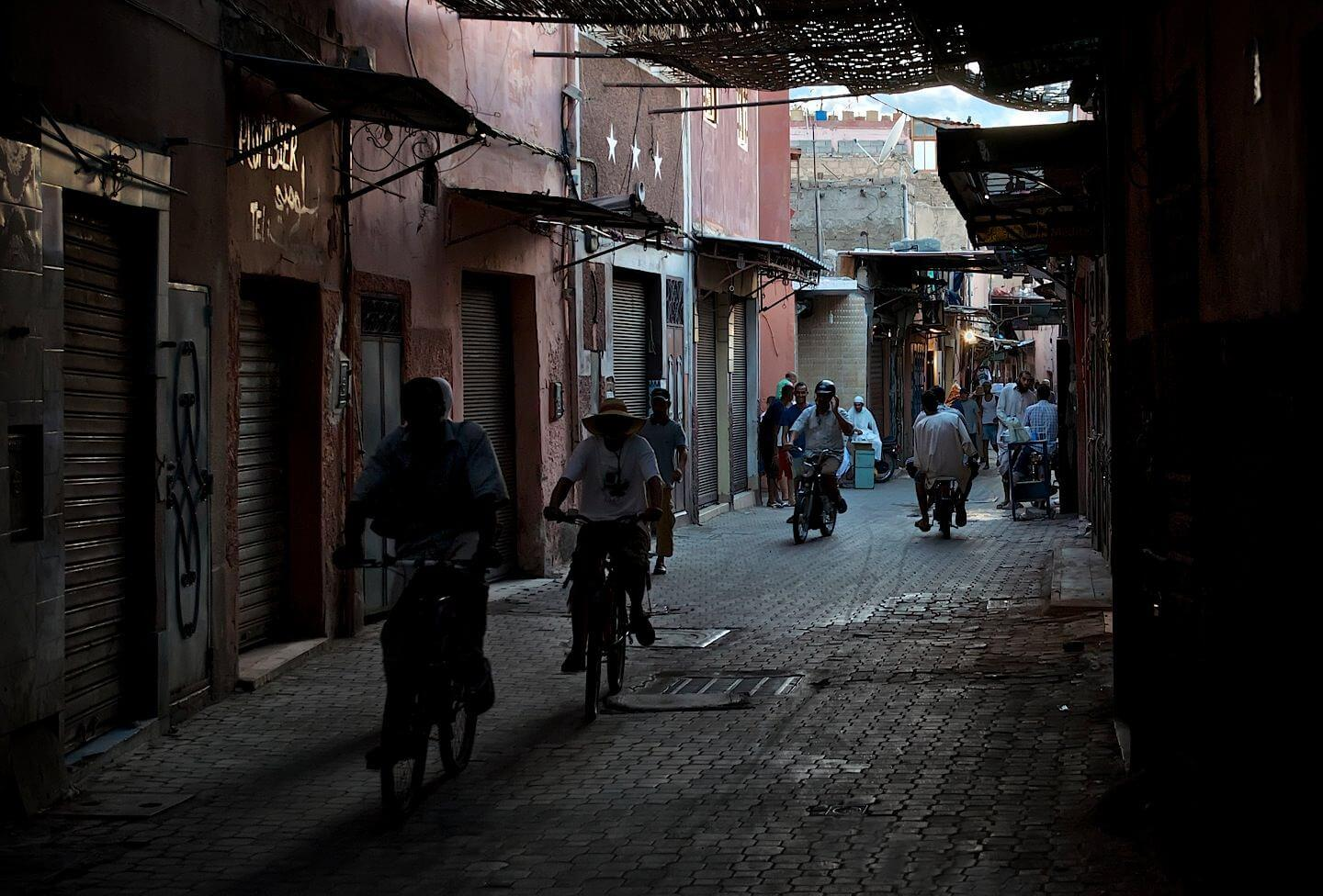 Street of Marrakech filled with mopeds