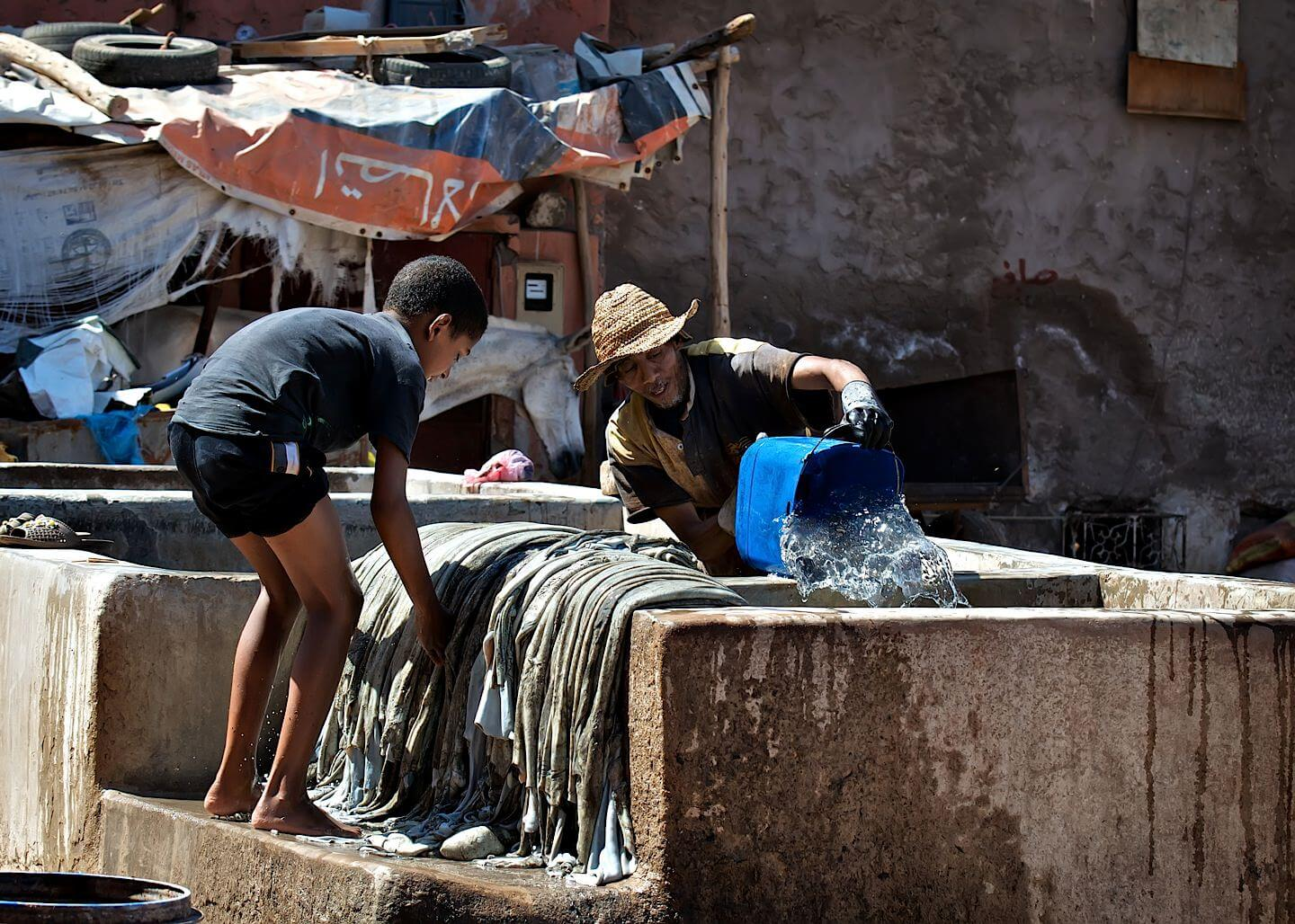 Leather tannery workers; Marrakech
