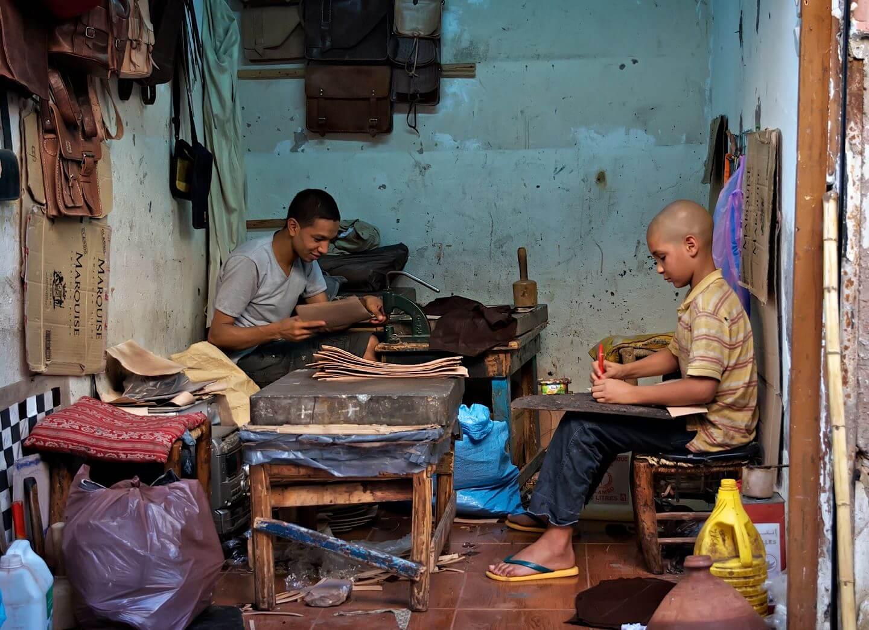 Two boys working; Marrakech