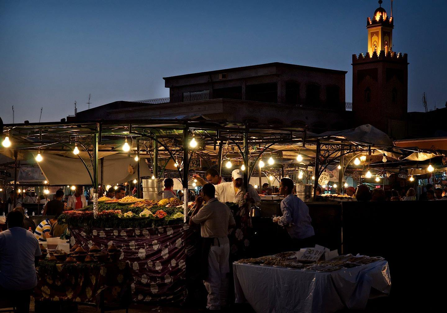 Jemaa el-Fnaa square filled with food stalls