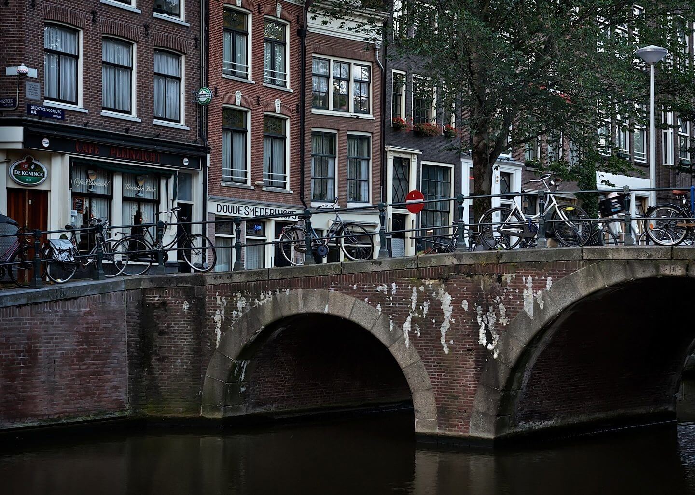 Quiet bridge with bicycles in Amsterdam
