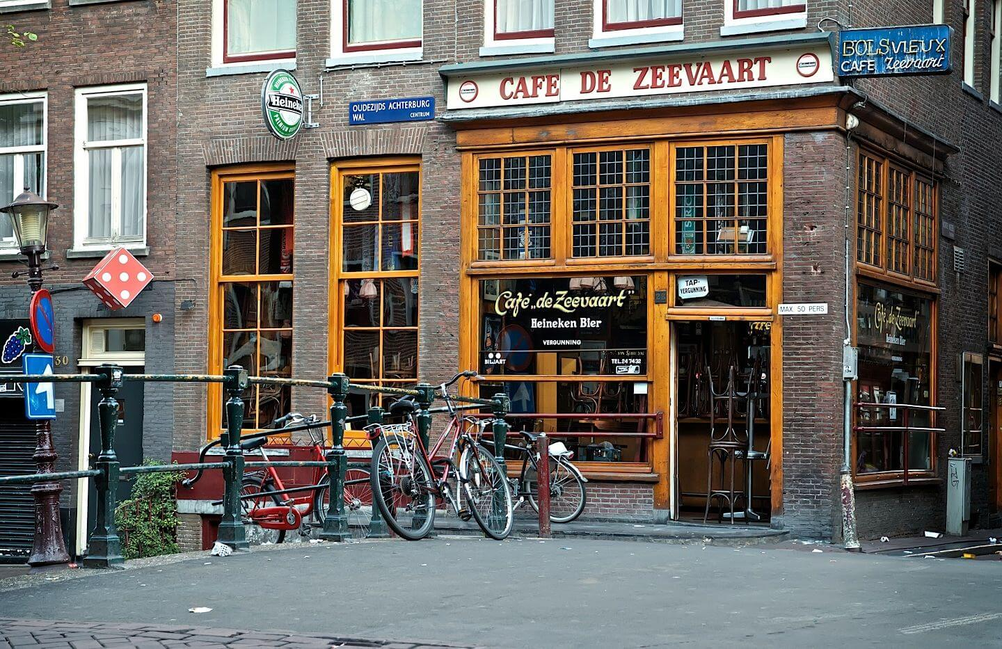 Closed pub early in the morning in the Red Light District, Amsterdam